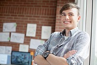 Young, male industrial designer in studio