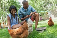 African_American couple feeding chickens on rural property