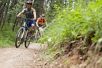 Two men mountain biking on a trail in the woods