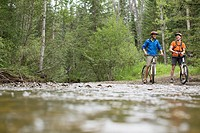 Two male mountain bikers pausing by a stream in the woods