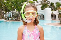 Portrait of girl 8_9 wearing snorkel
