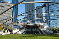 Jay Pritzker Pavilion designed by Frank Gehry, Millennium Park, Chicago, Illinois, United States of America, North America