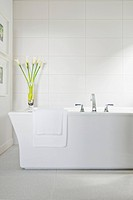 White bath tub in contemporary bathroom