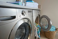 Laundry room with focus on energy efficient washer and dryer