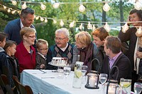 Family gathered around beautiful cake at outdoor dinner (thumbnail)