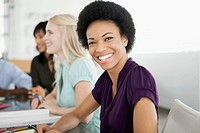 Attractive businesswoman smiling at meeting