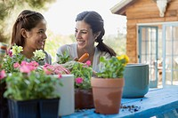 Sisters smiling at each other while repotting flowers.