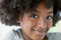 Close_up of African American preteen with afro