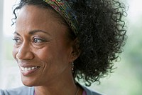 Close_up of middle_aged African American women with afro