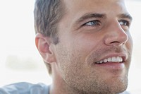 Close_up of handsome mid_adult man with stubble