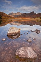 Blea Tarn and the Langdale Pikes in the Lake District National Park, Cumbria, England, United Kingdom, Europe