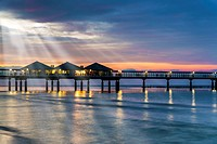 The Heringsdorf Pier is a pier at the Baltic Sea The pier is 508 meters long It was built in 1995, Heringsdorf, Usedom Island, County Vorpommern-Greif...