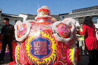 Lion dance celebrating the Chinese New Year at Ngong Ping 360 village, Lantau Island, Hong Kong