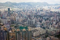 Panoramic sweep of kowloon cityscape from Sky100, 393 meters above sea level, Hong Kong