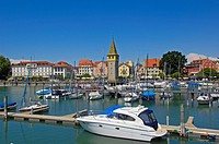Lindau, Germany, Bavaria, Allgäu, Lake constance, Bodensee, Harbour, Mangturm tower, old lighthouse