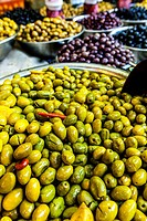 Variety of Olives in Carmel Market