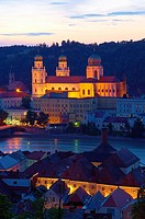 Passau, River Inn, St  Stephan Cathedral, Lower Bavaria, Bavaria, Germany, Europe