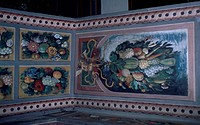 Naturalistic motif decorations, interior of Jindrichuv Hradec Castle, Bohemia. Detail. Czech Republic.
