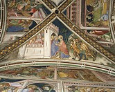 Cycle of frescoes with Stories of the Virgin, 1424, detail from the vault depicting Reunion at the Golden Gate, by Ottaviano Nelli (ca 1375-1444), Cha...