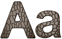 Alligator skin font A lowercase and capital letters