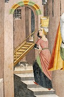 View of a small town, detail from Jesus Christ beaten before Herod, fresco, by Giovanni Canavesio, 1491, in the Notre-Dame des Fontaines Chapel, La Br...