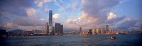 Panoramic skyline of Kowloon in Victoria Harbour at dusk, Hong Kong