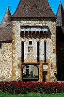 Southern entrance to Chateau de Corcelles, Corcelles-en-Beaujolais, Rhone-Alpes. France, 15th-16th century.