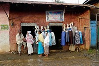 ETHIOPIA  Street scenes on a rainy day in Chagni, Beni Shangul Gumuz  Local shop selling tailored clothes