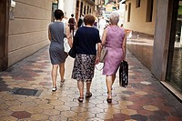 three old women walking