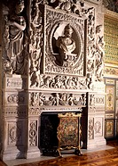The fireplace in the hall of the guards, Chateau de Fontainebleau (UNESCO World Heritage List, 1981). France, 16th century.  Fontainebleau, Musée Nati...
