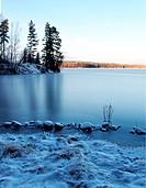 Frozen lake scenery
