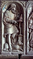 St Luke, detail from the bas_relief of the Four Evangelists, Abbey of Mont St Michel UNESCO World Heritage List, 1979, Normandy. France.