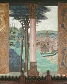 Hunting scene and city views, 15th century fresco, Baronial hall, Issogne Castle. Italy, 15th centuries.