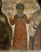 Fifth-century fresco depicting the deceased child Nonnosa dressed in a tunic with gems and pearls, Catacombs of San Gennaro, Naples, Campania, Italy.