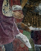 Borso d'Este giving a coin to the court jester, scene from Month of April, ca 1470, by Francesco del Cossa (ca 1435-1477), fresco, east wall, Hall of ...