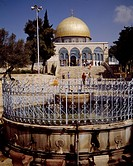 Ablutions fountain and the south side of the Dome of the Rock or Mosque of Omar, Jerusalem's Old City UNESCO World Heritage Site, 1981. Israel
