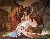 Bacchanal, ca 1770, by Jacopo Guarana (1720-1808), fresco, Room of the Triumph of Bacchus, Villa Pisani, Stra, Veneto. Detail. Italy, 18th century.