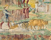 Plowing the fields, detail from Triumph of Ceres, scene from Month of August, ca 1470, attributed to Cosimo Tura, (ca 1430-1495) and Master of Ercole,...