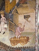 Farmer on wagon, detail from the Month of August, panel taken from Cycle of the Months, by Master Venceslao, fresco, Tower Aquila, Buonconsiglio Castl...