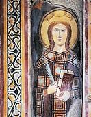 Holy Martyr, detail from a fresco, Basilica of Sant'Eustorgio, Milan. Italy, 15th century.