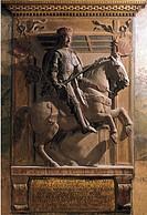 Equestrian monument, by Annibale Bentivoglio, 1458, Bentivoglio Chapel, San Giacomo (St James) Maggiore Basilica, Bologna, Emilia-Romagna. Italy, 15th...