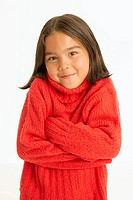 Girl in cozy red sweater