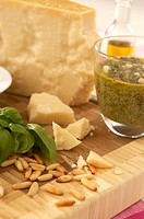 Pesto and parmesan cheese