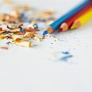 Color pencils and shavings