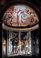 Flagellation of Jesus and the Ascension, 1517-1524, frescoes by Sebastiano del Piombo (1485-about 1547), Borgherini Chapel, Church of St Peter in Mont...