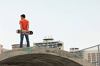 Boy standing at skate park