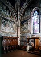 Frescoes by Spinello Aretino (ca 1350-1410), Sacristy, San Miniato al Monte (St Minias on the Mountain Basilica), Florence. Italy, 14th-15th century.
