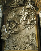 Vittorio Amedeo II in the glorious battle for the liberation of Turin, marble relief by Bernardino Cametti (1669-1736). Basilica of Superga, Turin. It...