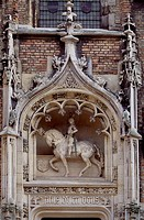 Facade of Gruuthuse city palace, Bruges. Detail. Belgium, 15th century.