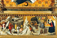 Nativity and the arrival of the Magi, by Giovanni del Biondo active from 1356 to 1399. detail from the predella of Rinuccini altarpiece, 1379. Basilic...